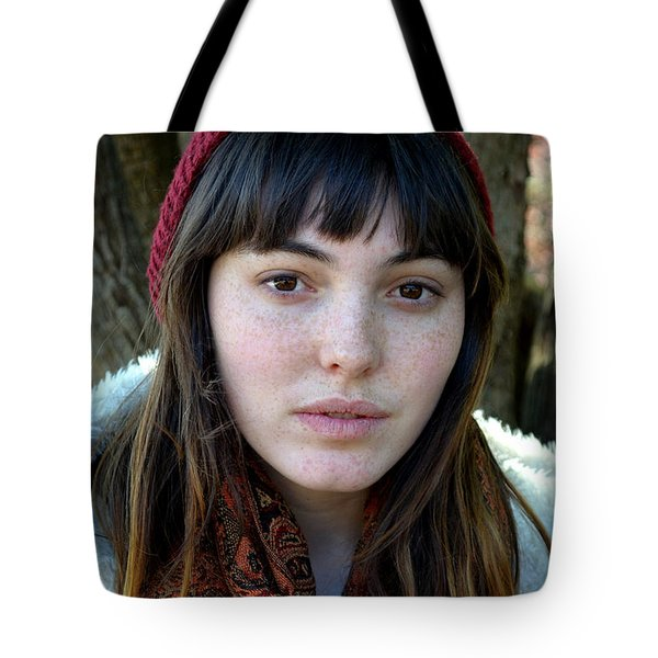Tote Bag featuring the photograph Brown Haired And Freckle Faced Natural Beauty Model V by Jim Fitzpatrick