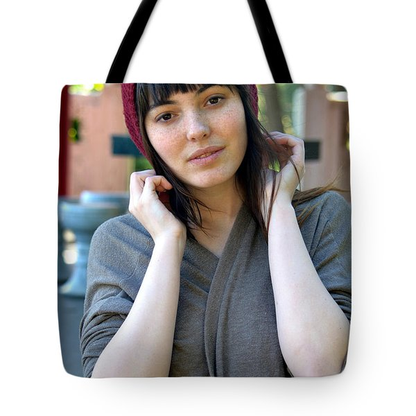 Tote Bag featuring the photograph Brown Haired And Freckle Faced Natural Beauty Model Lizzie Gunst Vii by Jim Fitzpatrick