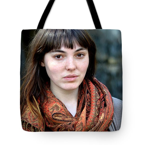 Tote Bag featuring the photograph Brown Haired And Freckle Faced Natural Beauty Model Viii by Jim Fitzpatrick