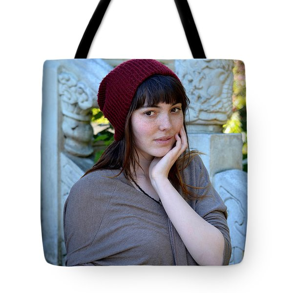 Tote Bag featuring the photograph Brown Haired And Freckle Faced Natural Beauty Model X by Jim Fitzpatrick
