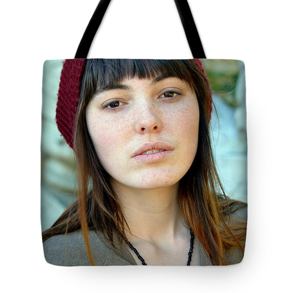Tote Bag featuring the photograph Brown Haired And Freckle Faced Natural Beauty Model Xi by Jim Fitzpatrick