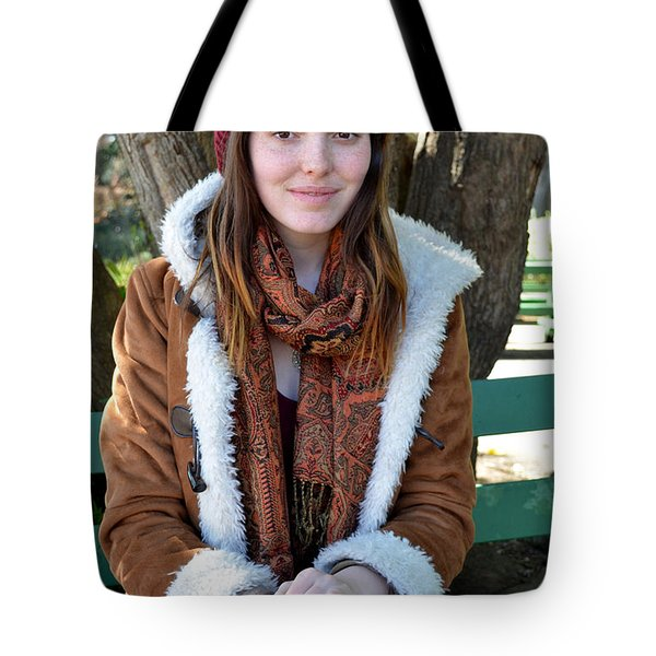 Tote Bag featuring the photograph Brown Haired And Freckle Faced Natural Beauty Model Xiii by Jim Fitzpatrick