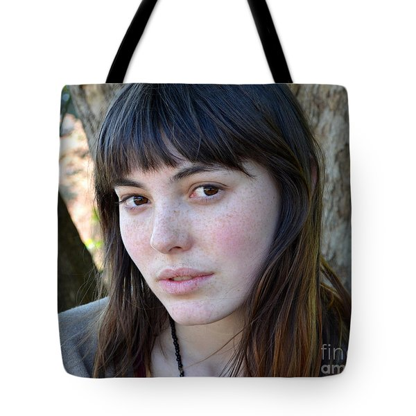 Tote Bag featuring the photograph Brown Haired And Freckle Faced Natural Beauty Model Xiv by Jim Fitzpatrick