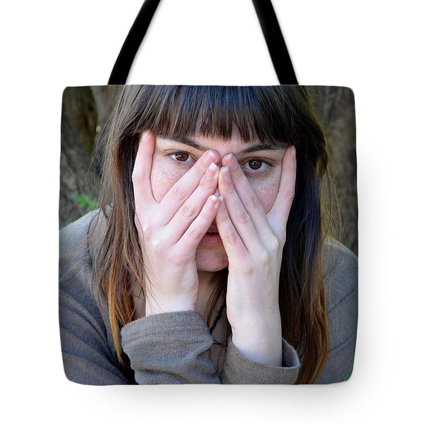 Tote Bag featuring the photograph Brown Haired And Freckle Faced Natural Beauty Gunst Xv by Jim Fitzpatrick