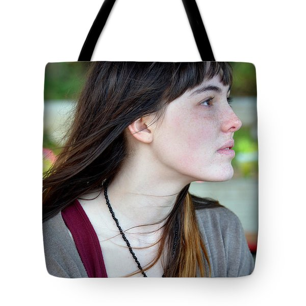 Tote Bag featuring the photograph Brown Haired And Freckle Faced Natural Beauty Model Xvi by Jim Fitzpatrick