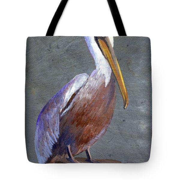 Brown Pelican Tote Bag by Elaine Hodges