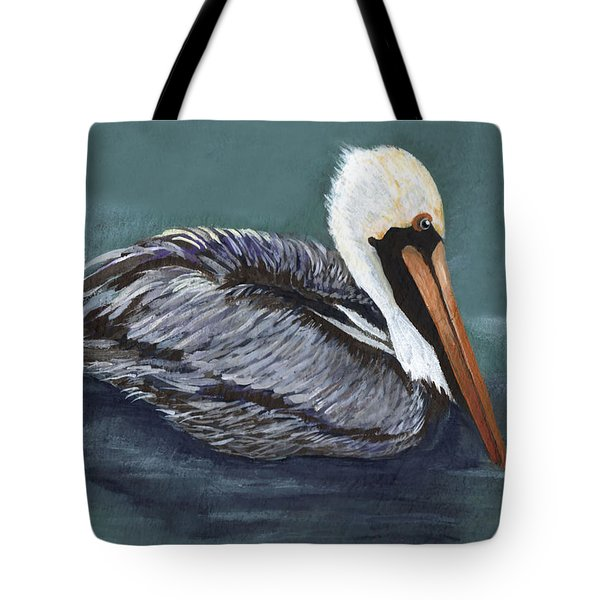 Brown Pelican On Water Tote Bag by Elaine Hodges