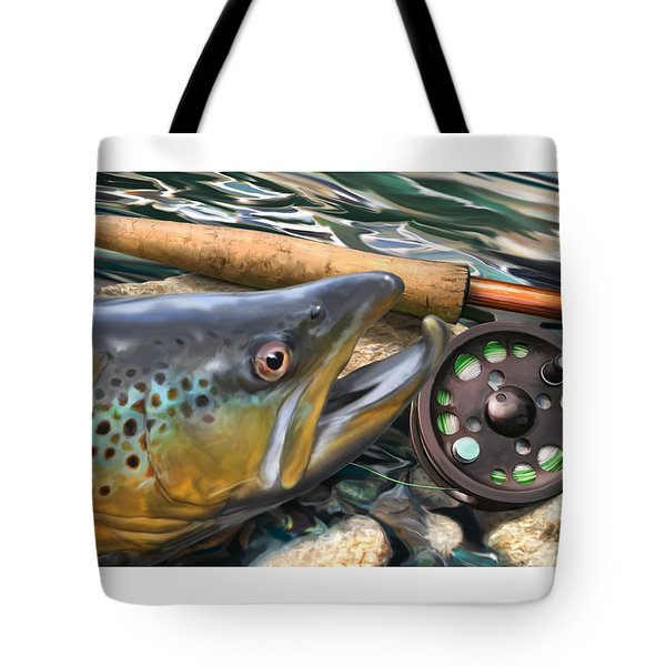 Brown Trout Sunset Tote Bag