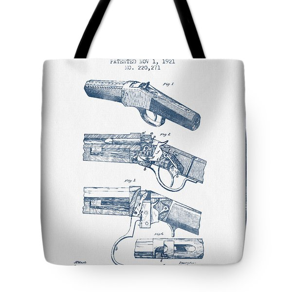 Browning Rifle Patent Drawing From 1921 -  Blue Ink Tote Bag