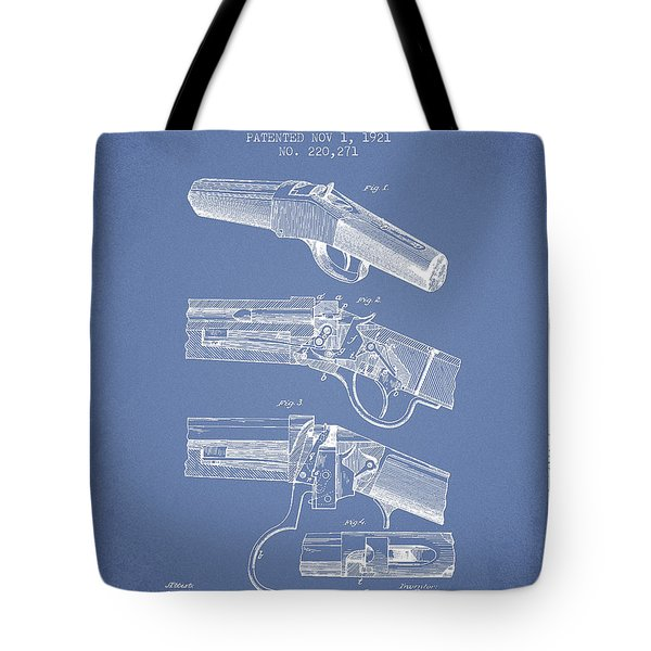 Browning Rifle Patent Drawing From 1921 - Light Blue Tote Bag