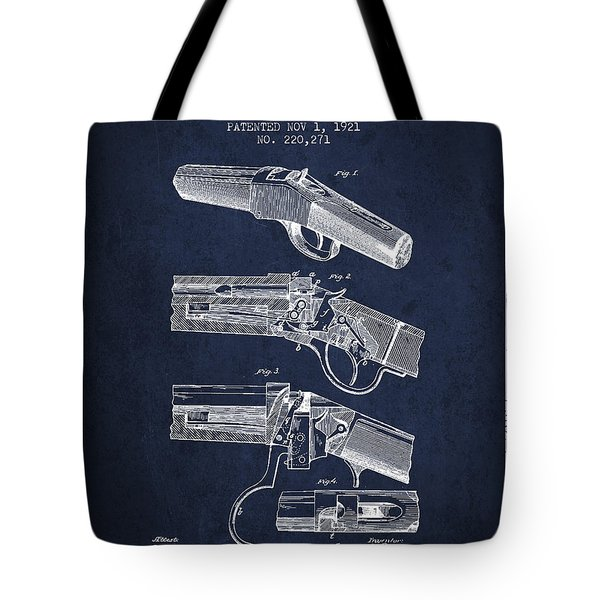 Browning Rifle Patent Drawing From 1921 - Navy Blue Tote Bag