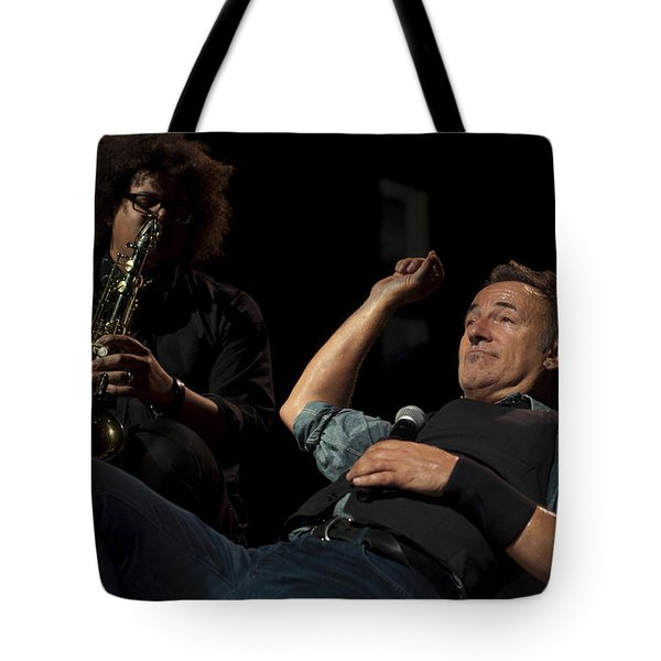 Bruce And Jake At Greasy Lake Tote Bag by Jeff Ross