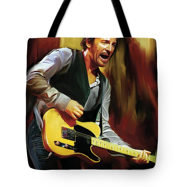 Bruce Springsteen Artwork Tote Bag by Sheraz A