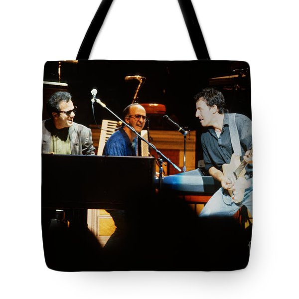 Bruce Springsteen Billy Joel And Paul Schaffer Tote Bag by Chuck Spang