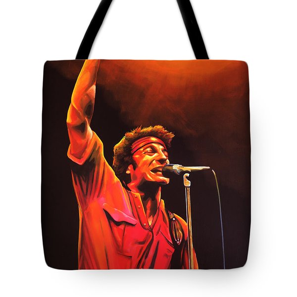 Bruce Springsteen Painting Tote Bag by Paul Meijering