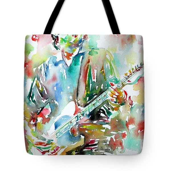 Bruce Springsteen Playing The Guitar Watercolor Portrait.3 Tote Bag by Fabrizio Cassetta