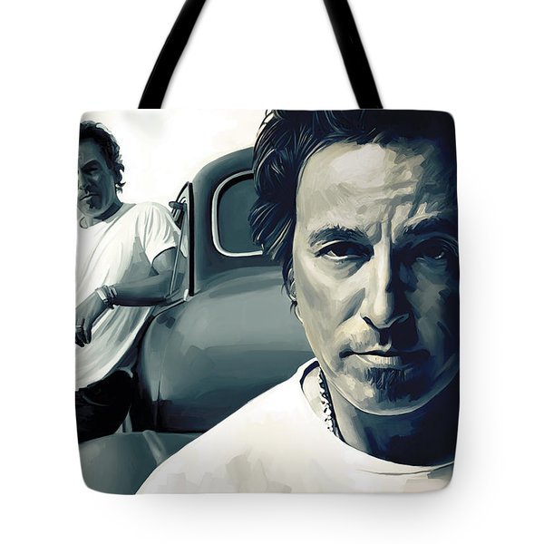 Bruce Springsteen The Boss Artwork 1 Tote Bag by Sheraz A