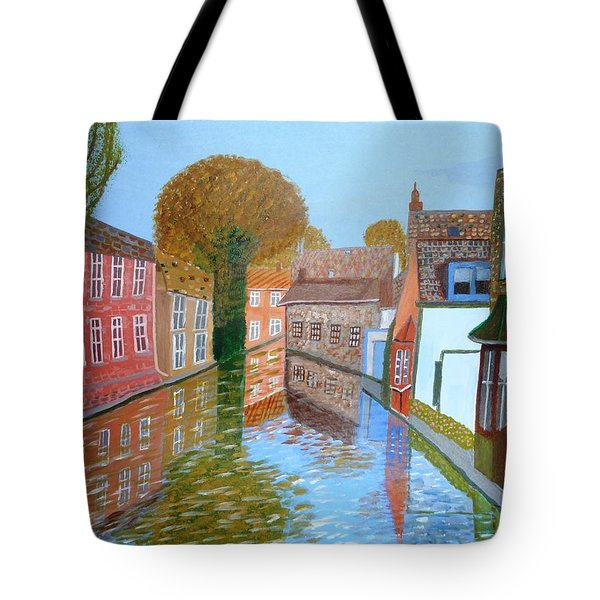Tote Bag featuring the painting Brugge Canal by Magdalena Frohnsdorff