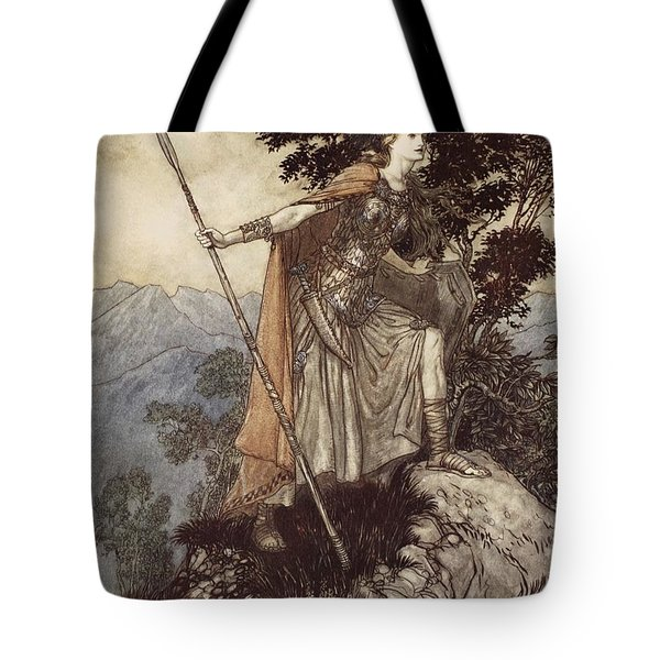 Brunnhilde From The Rhinegold And The Valkyrie Tote Bag by Arthur Rackham