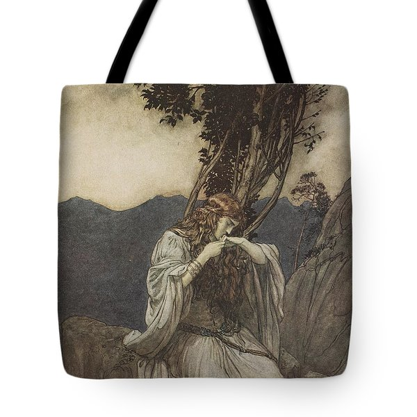 Brunnhilde Kisses The Ring That Siegfried Has Left With Her Tote Bag by Arthur Rackham