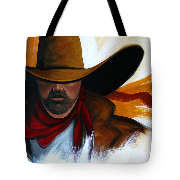 Tote Bag featuring the painting Brushstroke Cowboy #4 by Lance Headlee