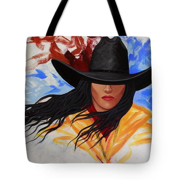 Brushstroke Cowgirl #3 Tote Bag by Lance Headlee