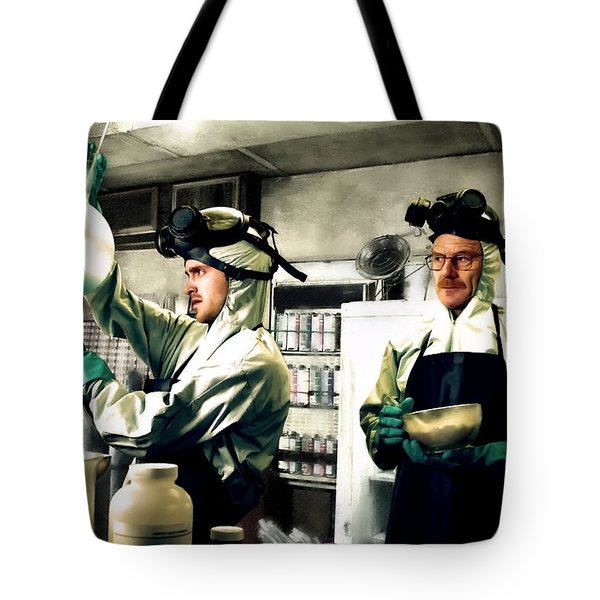 Bryan Cranston As Walter White And Aaron Paul As Jesse Pinkman Cooking Metha @ Tv Serie Breaking Bad Tote Bag