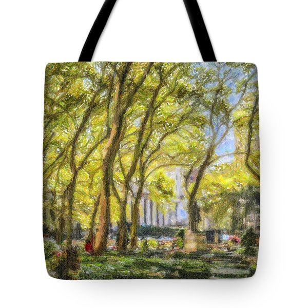 Bryant Park October Morning Tote Bag