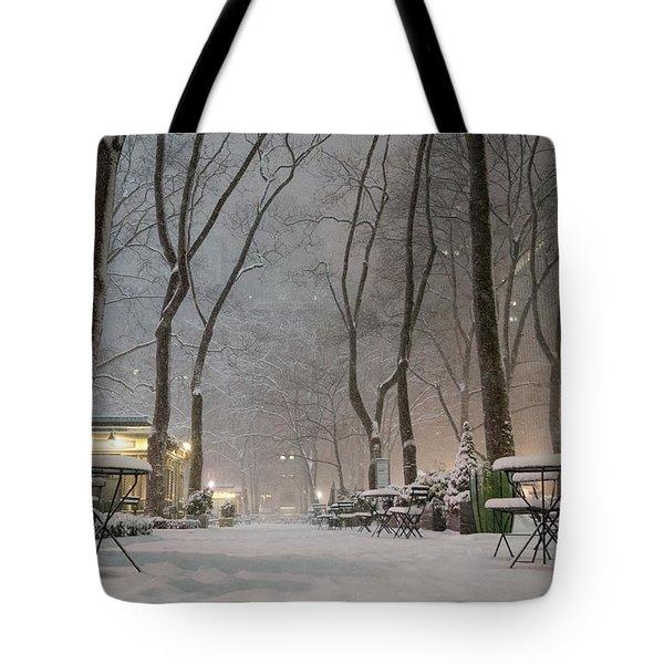 Bryant Park - Winter Snow Wonderland - Tote Bag by Vivienne Gucwa