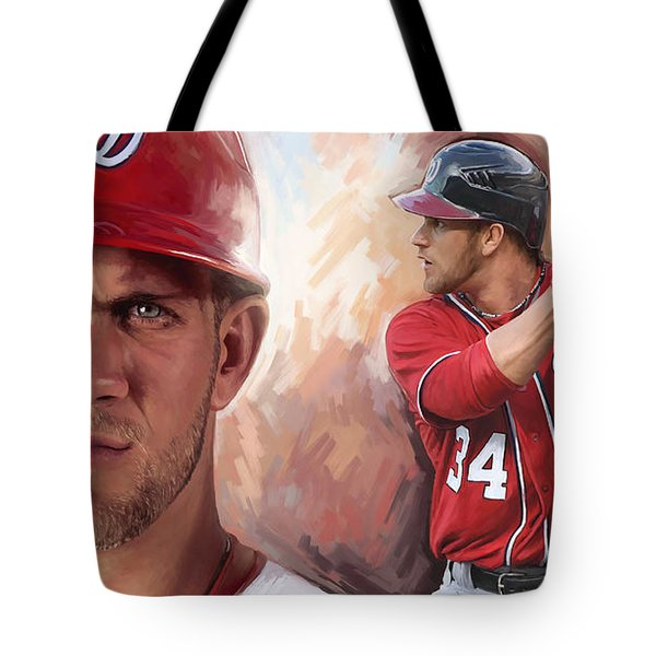 Tote Bag featuring the painting Bryce Harper Artwork by Sheraz A