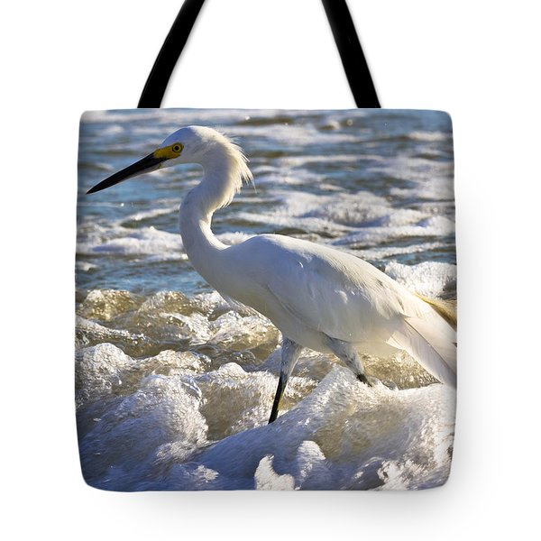Bubbles Around Snowy Egret Tote Bag