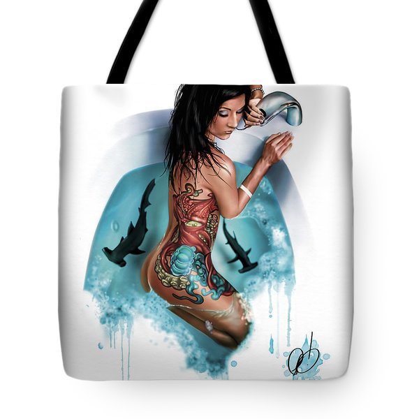 Tote Bag featuring the painting Bubbles by Pete Tapang
