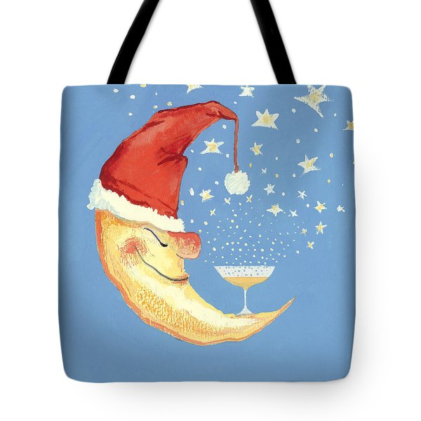 Bubbly Christmas Moon Tote Bag by David Cooke