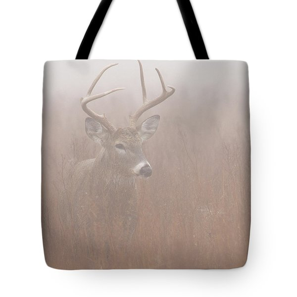 Tote Bag featuring the photograph Buck In Fog by Rob Graham