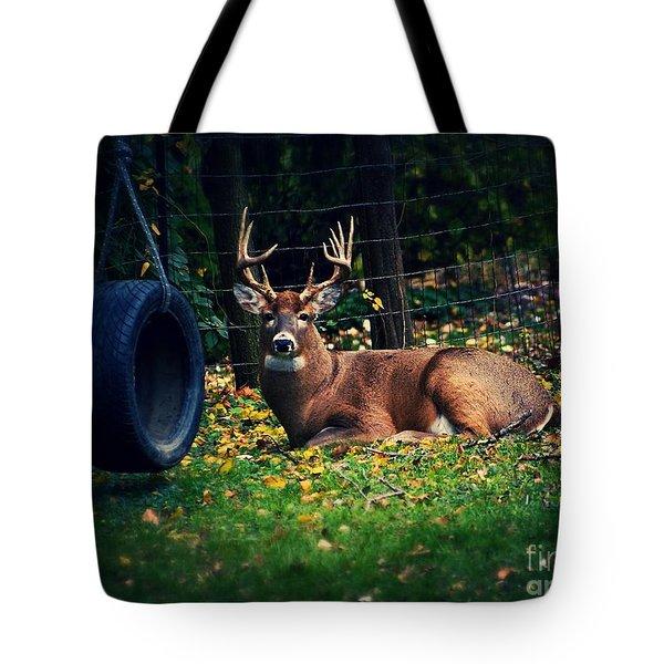 Buck In The Back Yard Tote Bag