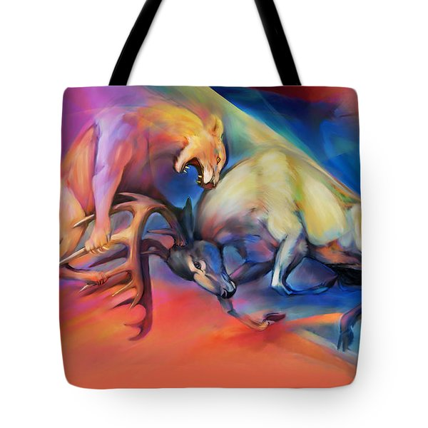 Tote Bag featuring the painting Buck Off by Rob Corsetti