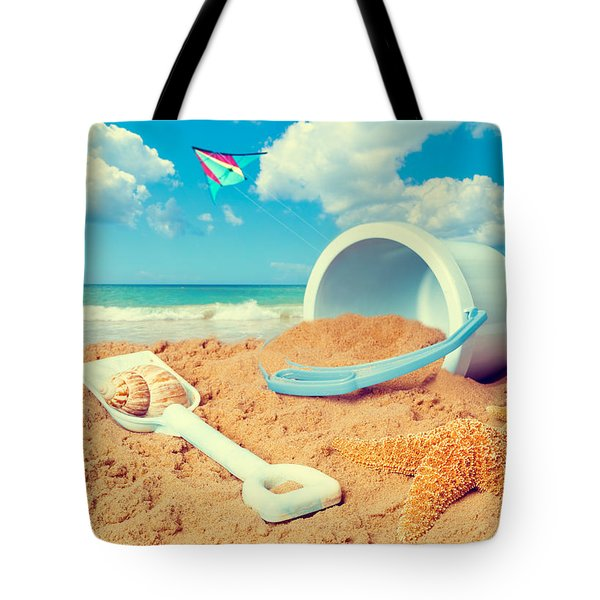 Bucket And Spade On Beach Tote Bag
