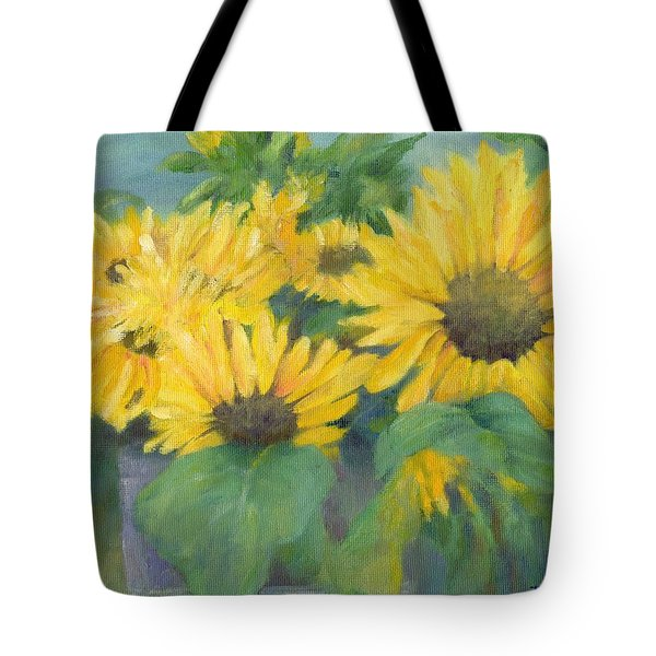 Bucket Of Sunflowers Colorful Original Painting Sunflowers Sunflower Art K. Joann Russell Artist Tote Bag