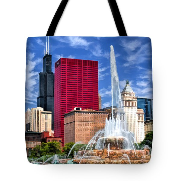 Chicago Buckingham Fountain Sears Tower Tote Bag