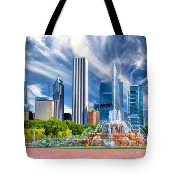 Buckingham Fountain Chicago Skyscrapers Tote Bag