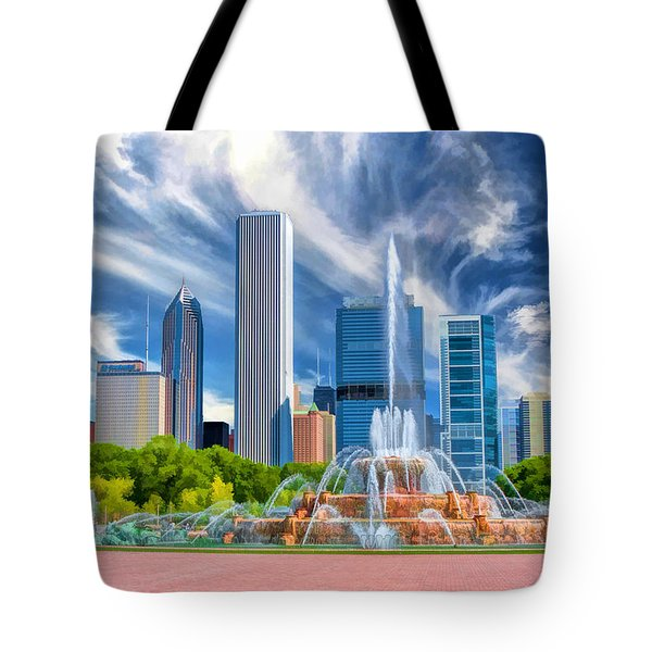 Buckingham Fountain Skyscrapers Tote Bag by Christopher Arndt