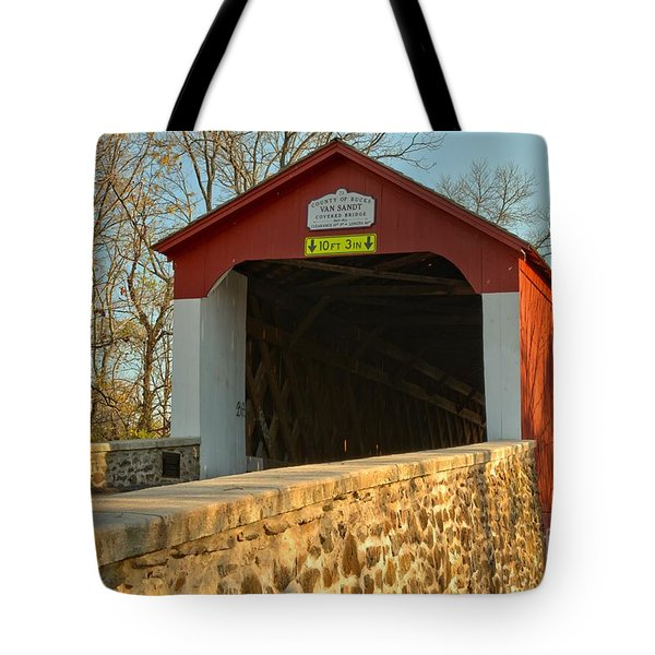 Bucks County Van Sant Covered Bridge Tote Bag