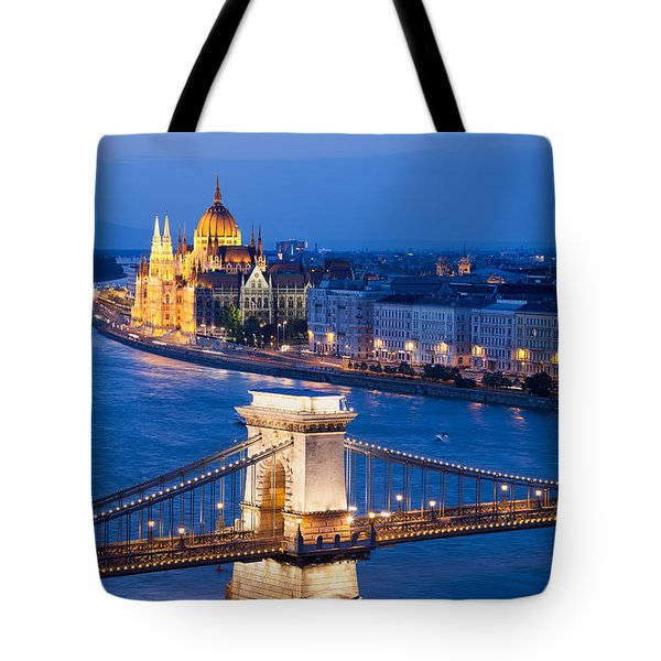 Budapest Cityscape At Night Tote Bag