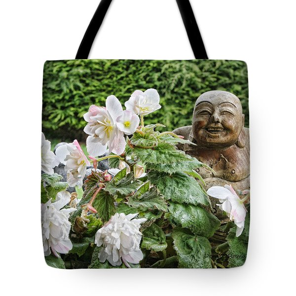 Budda And Begonias Tote Bag by Denise Romano