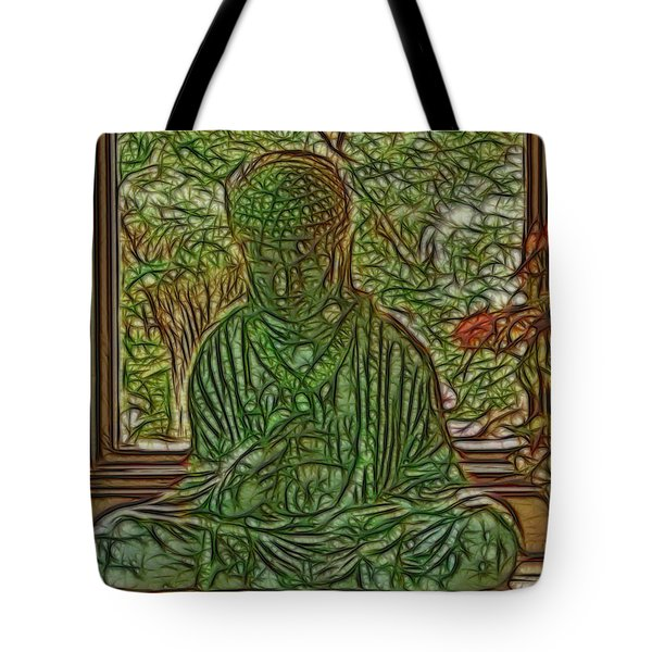 Buddha In Window With Blue Vase Tote Bag by Larry Capra