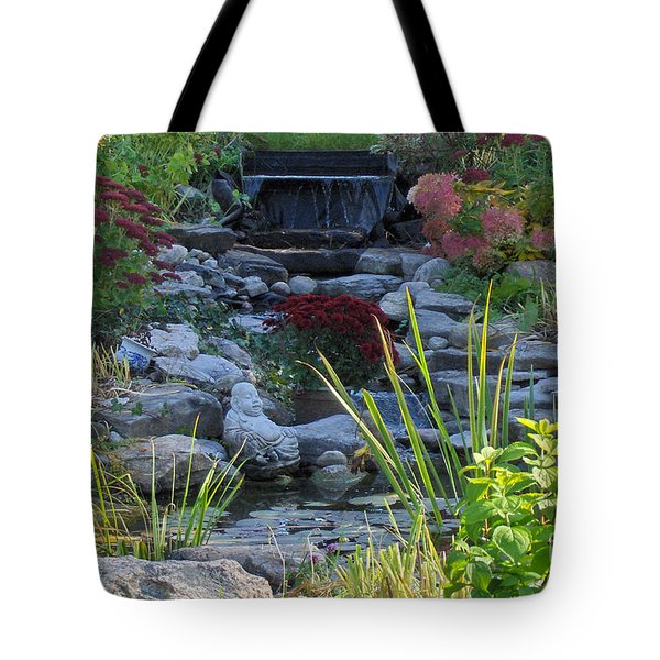 Tote Bag featuring the photograph Buddha Water Pond by Brenda Brown