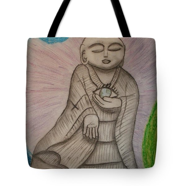 Buddha And The Eye Of The World Tote Bag by Thomasina Durkay