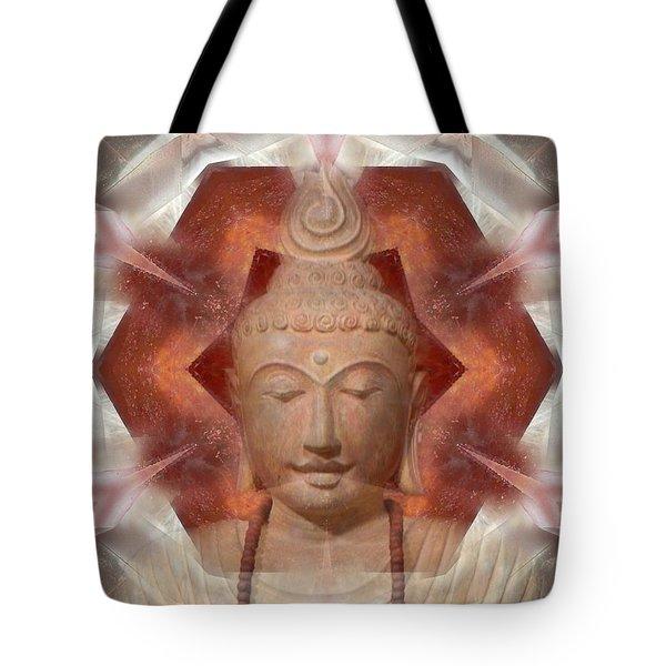 Buddha Head Crystal Mandala Tote Bag