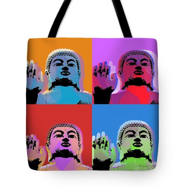 Buddha Pop Art - 4 Panels Tote Bag