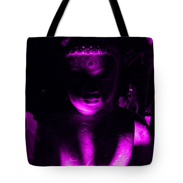 Buddha Reflecting Purple Tote Bag by Linda Prewer